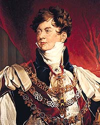 Shows a photograph of a head and shoulders portrait of the Prince Regent wearing lavish period clothing. He has short brown hair and is pictured against a regal red curtain.