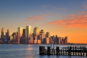 Late afternoon over the Financial District, NYC, from Pier A Par